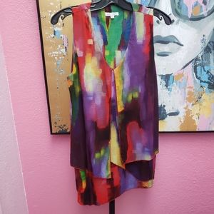 Adore Waterfall Colorful Tunic Size Large